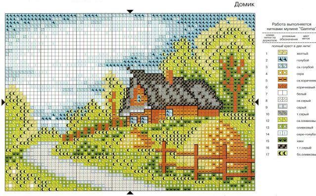 Схемы вышивки цветные домики 9