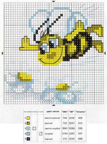 Вышивка крестиком схемы пчелок 74
